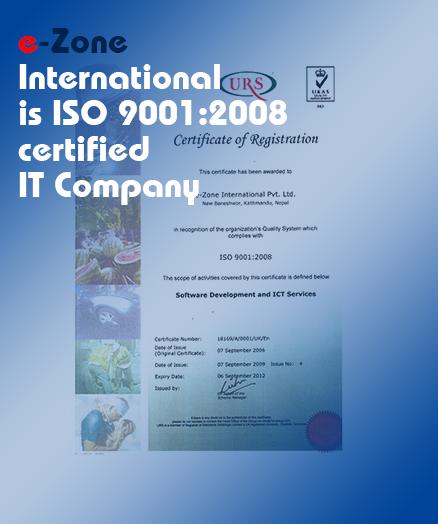 e-Zone International is ISO 9001:2008 Certified